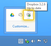 DropBox into the notification area